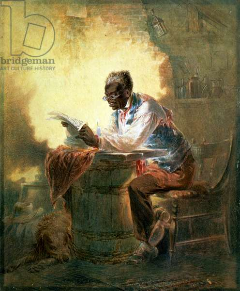 African American man reading a newspaper with the headline 'Presidential Proclamation, Slavery' which refers to President Lincoln's Emancipation Proclamation of January 1863. Watercolour by Henry Louis Stephens (1824-1882).