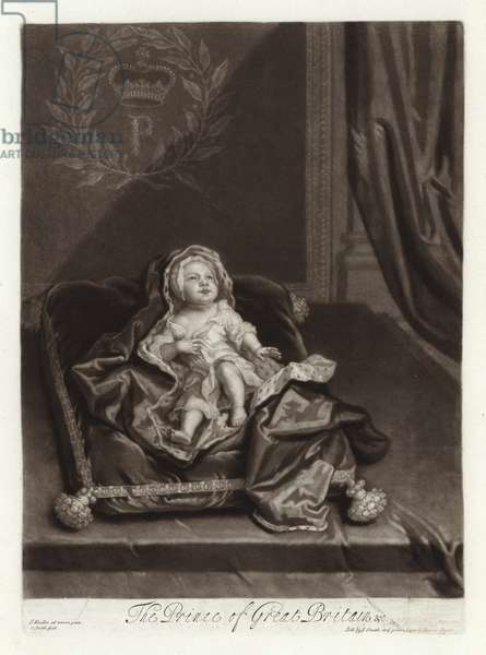 Portrait of Prince James Stuart as a baby (engraving)