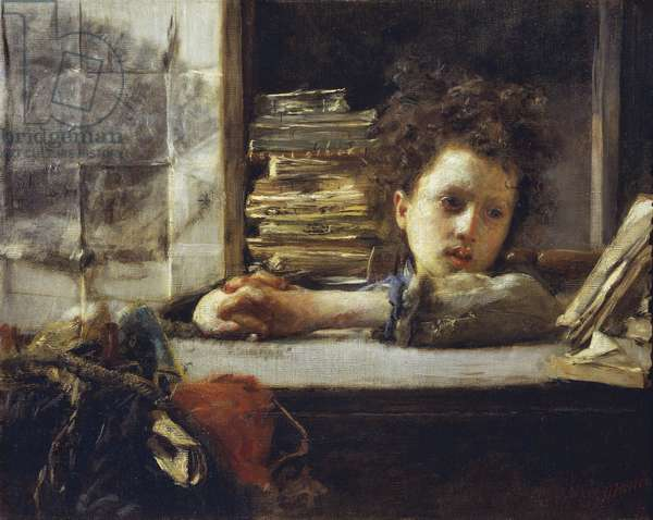 In the Study (oil on canvas)