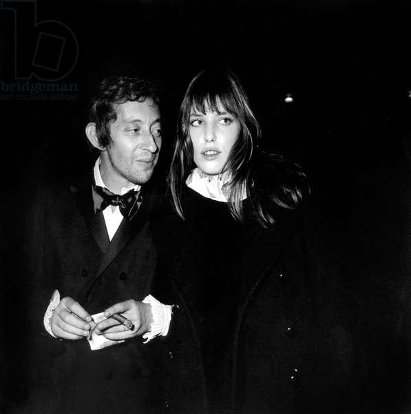 Serge Gainsbourg and Jane Birkin going to a Party at New Jimmy's, Paris, 24 November 1969 (photo)