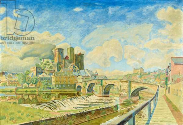 View of Runkel castle with bridge over the Lahn river, 1952 (oil on canvas)
