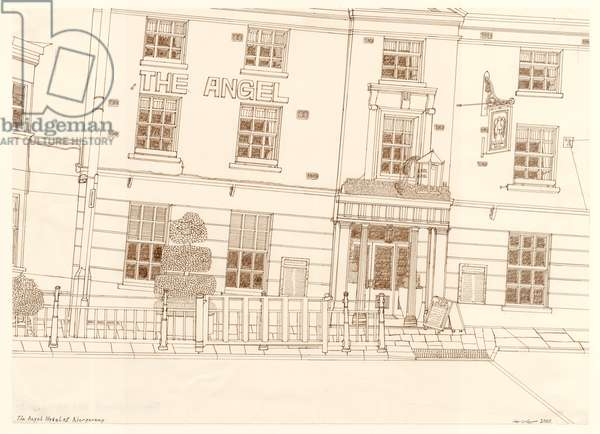 The Angel Hotel, Abergavenny, 2015 (pen and ink)