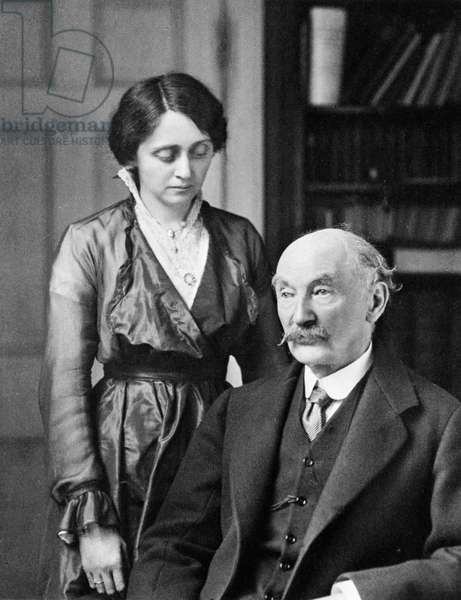 Thomas Hardy (1840-1928) British poet, novelist and dramatist with his second wife, Florence. Photograph.