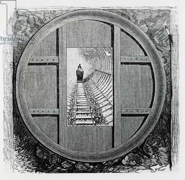Thames Subway, Tower Hill, London: View through tunnel during construction, 1869.