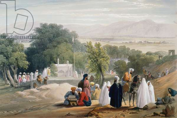 First Anglo-Afghan War 1838-1842: Tomb of Emperor Babur (d1530). From J Atkinson Sketches in Afghanistan London 1842. Hand-coloured lithograph.