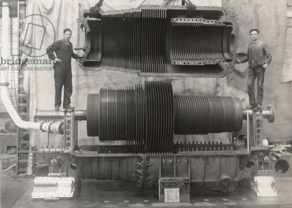 Steam turbines built for torpedo boat destroyer ROE, opened for inspection, 1910 (b/w photo)