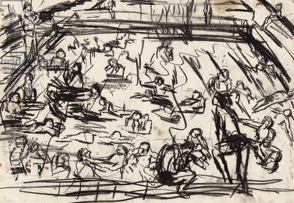 Children's Swimming Pool, c.1970-72 (charcoal with oil on paper)