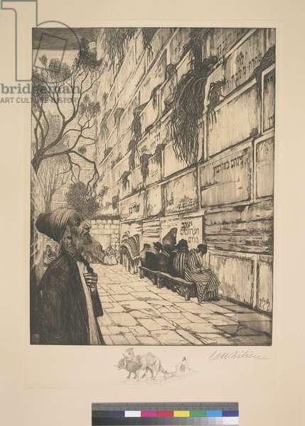 The Wailing Wall in Jerusalem [Kotel] 1908 (etching)