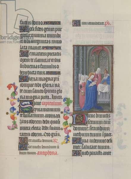 Ms. 65/1284 fol. 63r Presentation of Jesus in the Temple, from 'Très Riches Heures du Duc de Berry' (vellum)