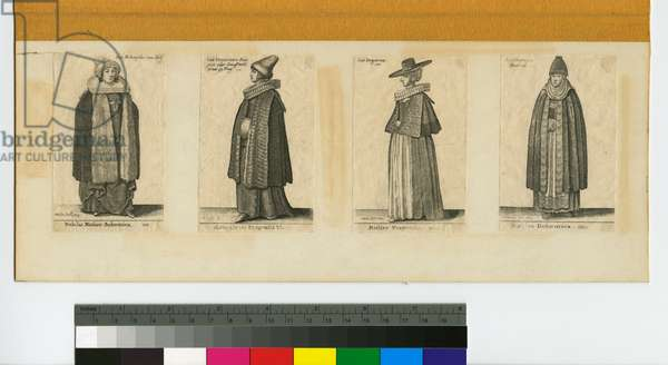 Four Women in Costumes from Prague, 1643 (4 prints on a single mat, etching)