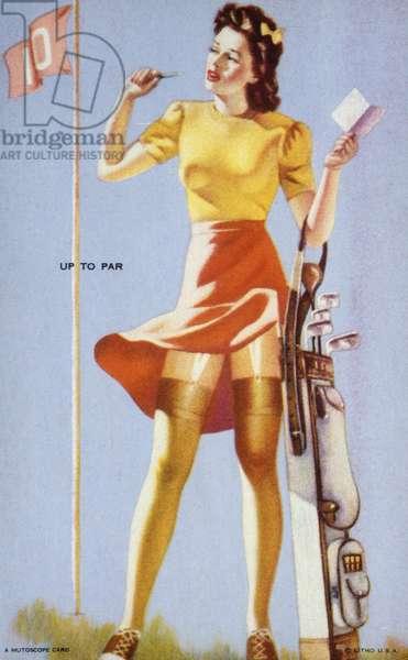 Up to Par, Mutoscope Card, 1940s (colour litho)