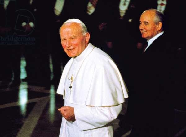 Pope John Paul II and Mikhail Gorbachev, Vatican City, Vatican City State, 1989 (photo)
