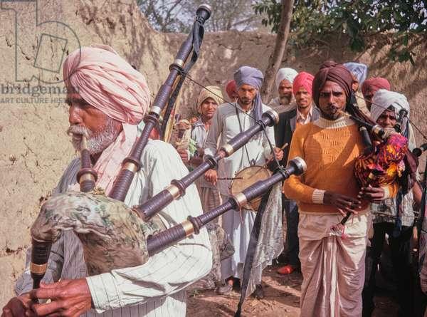 Sikh wedding in the Punjab, India, 1973 (photo)
