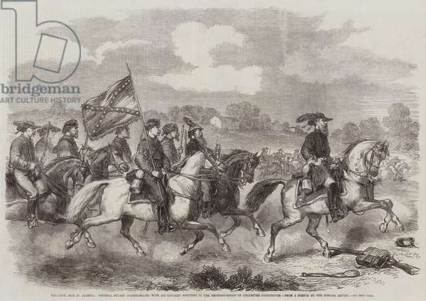 The Civil War in America, General Stuart (Confederate) with his Cavalry scouting in the Neighbourhood of Culpepper Courthouse (engraving)