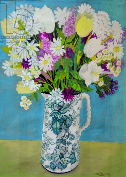Flowers in a Jug, turquoise decoration,2011, (watercolour)