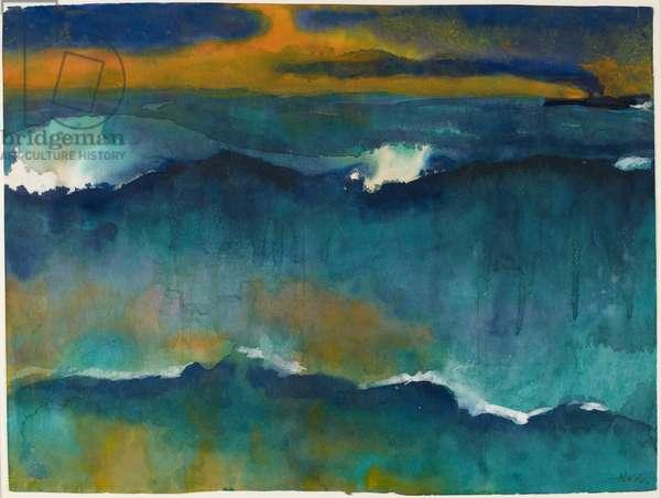 Heavy Seas at Sunset, c.1930-35 (w/c on paper)