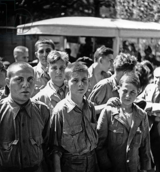 Arrival of The Children Interned in Concentration Camp , in May 1945 (b/w photo)