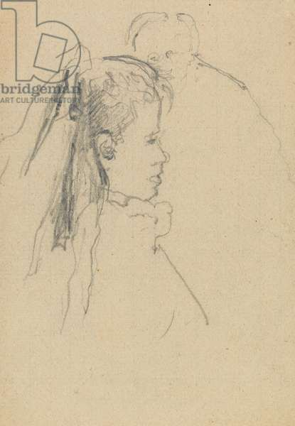 Head and bust of a girl in profile to right, head of a man, full front, behind (graphite on paper)