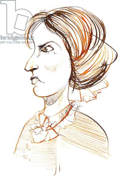 Charlotte Bronte - English novelist and poet (1816 - 1855); caricature in profile