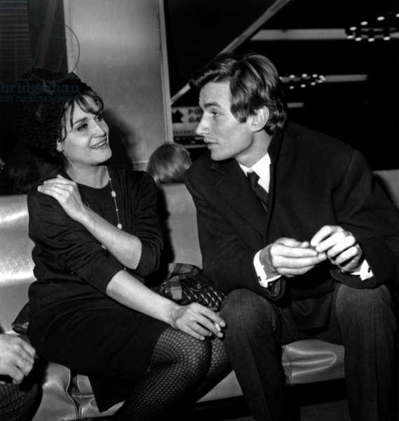 Dalida and Jean Sobieski on November 23, 1962 (b/w photo)