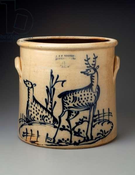 Pot, c.1855-–59 (stoneware with cobalt-blue decoration)