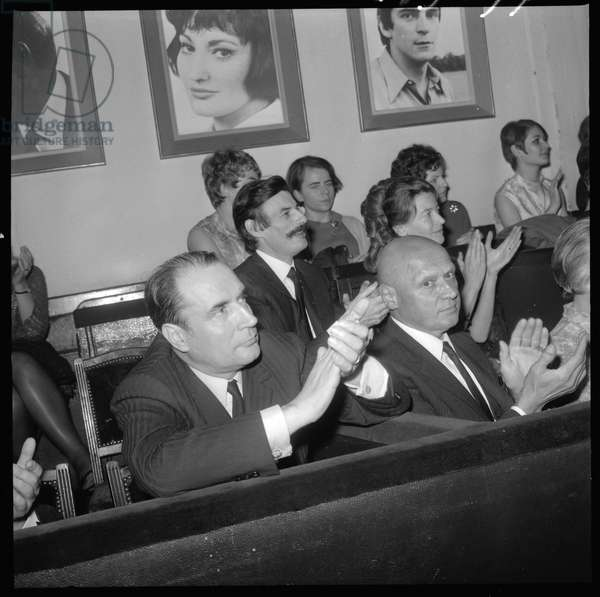 Francois Mitterand and Jean Ferrat at Isabelle Aubret concert, Bobino, Paris1968