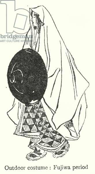 Japan: Outdoor costume, Fujiwa period (litho)