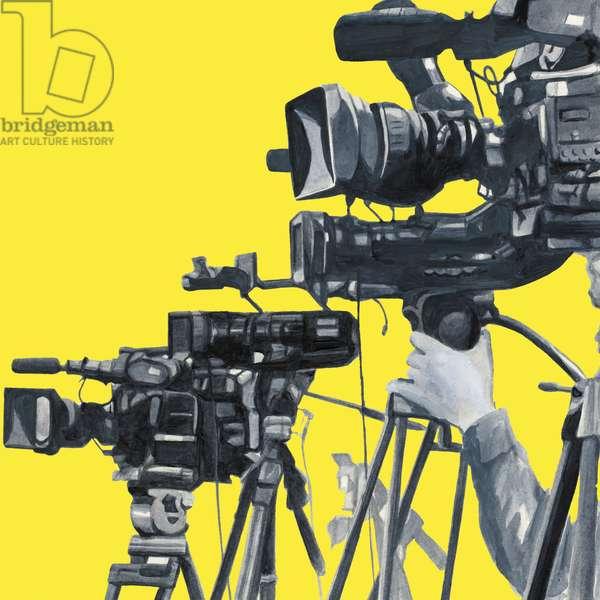 Video crew,2014(Acrylic paint on paper,Photoshop)