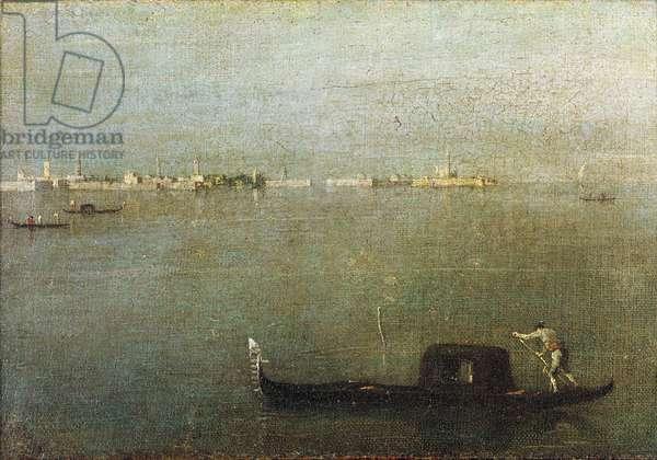 Gondola on Lagoon, Gray Lagoon c. 1765 (oil on canvas)