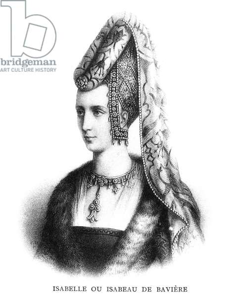ISABELLA OF BAVARIA (1370-1435). Queen of Charles VI of France, 1389-1422. Lithograph, French, 19th century.