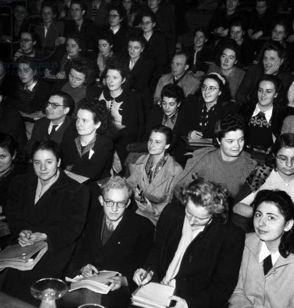 Students at Sorbonne University, Paris, December 1946 (b/w photo)