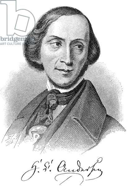 HANS CHRISTIAN ANDERSEN (1805-1875). Danish writer. Andersen at age 40. Contemporary engraving.