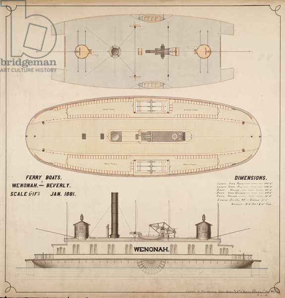Wenonah and Beverly Ferry Boats, 1894 (architectural drawing)