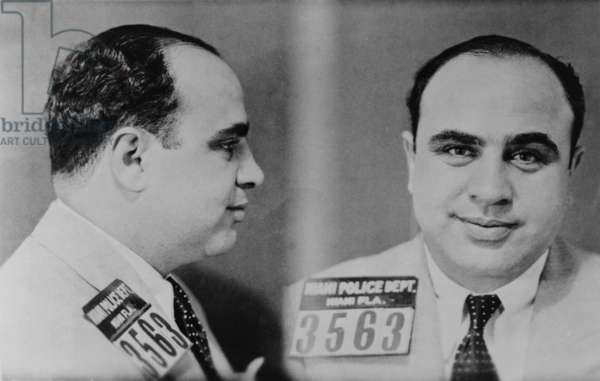Al Capone (1899-1847), Prohibition era gangster boss in 1931 mug shot made by the Miami police