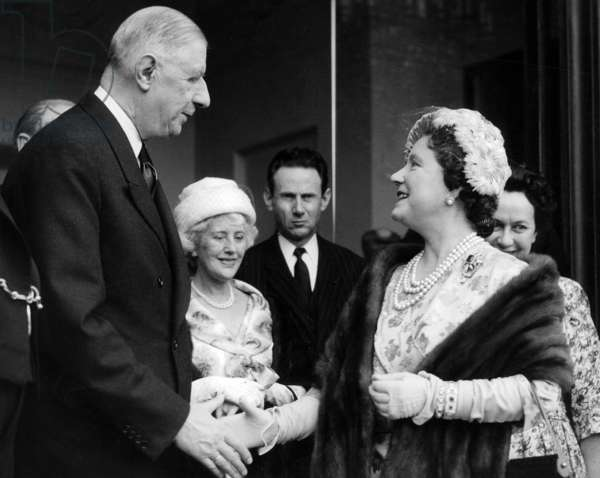Queen Elizabeth, The Queen Mother After The Luncheon at The Elysee Palace in Paris Shaking Hands With President De Gaulle, Behind (From Left To Right) Lady Jebb, The Wife of The British Ambassador To Paris, M. Rene Broullet, The Elysee General Secretary and Mme De Gaulle April 27, 1959 (b/w photo)