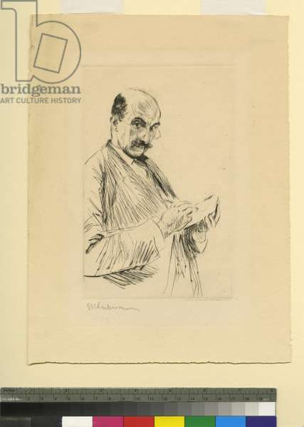 Self-portrait with sketchpad, 1913 (etching)