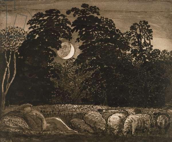 The Sleeping Shepherd, 1826-32 (pen & ink with w/c on paper)