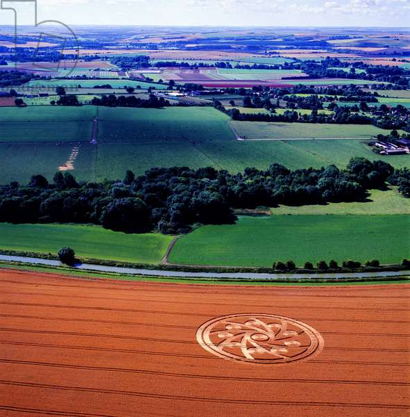 Crop circle in wheat field, Woodborough Hill, Vale of Pewsey, Wiltshire, 10th August 2001 (aerial photograph)