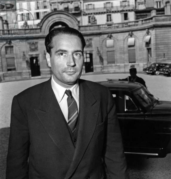 Francois Mitterrand, French Minister of Interior, Arriving at Elysee, Paris, June 19, 1954 (b/w photo)