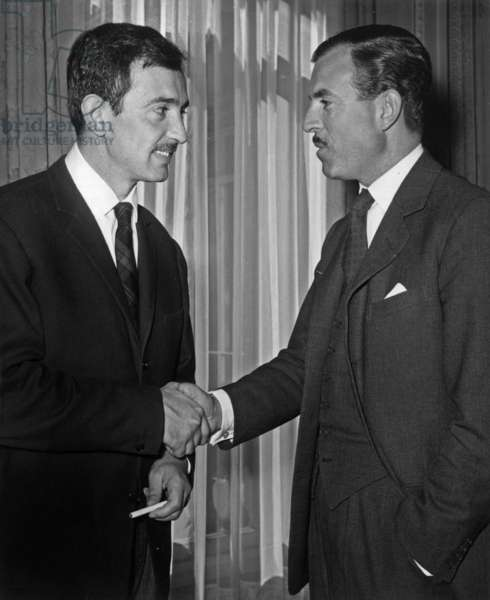 Maurice Herzog High Commissioner for Youth and Sports (Right) Felicitating Denis Lalanne for his 200,000-Fr Award On 14 April 1959 (b/w photo)