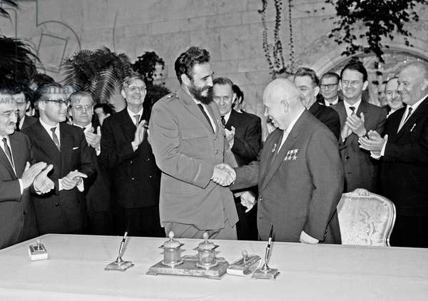 Nikita Khrushchev And Fidel Castro After Signing Soviet-Cuban Documents