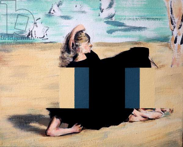 On the beach (after Manet), 2019 (acrylic on canvas)