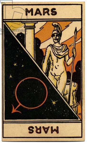 Paranormal. Astrology. Mars (planet). Astrologic card from: Le Tarot Astrologique (Astrological Tarot), by Georges Muchery, France, 1927