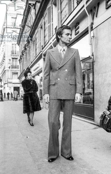 Men's fashion by Torrente, Spring 75, Paris, February 6, 1975 (b/w photo)