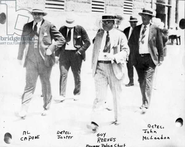 Police and detectives escort Al Capone, c.1930 (b/w photo)