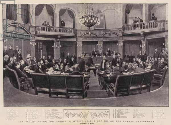 The School Board for London, a Sitting at the Offices on the Thames Embankment (litho)