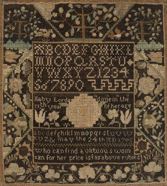 Sampler, 1765 (silk and metal on linen mounted on wood)
