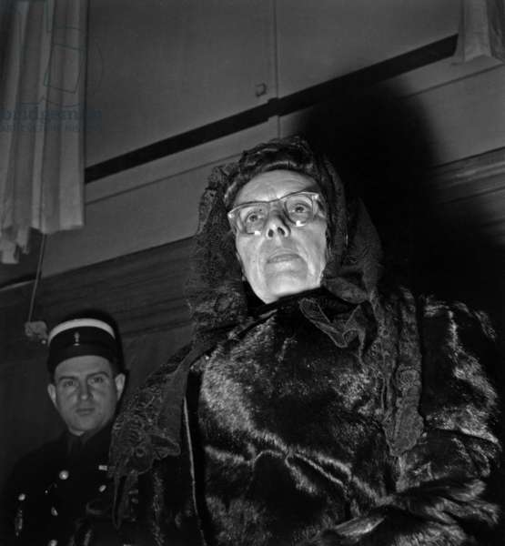 Marie Besnard (1896-1980) Accused of Poisoning of 11 Persons, here during her Trial on February 20, 1952. She Was Liberated in 1954 and Acquitted in 1961 (b/w photo)