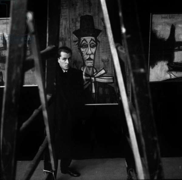 French Painter Bernard Buffet during Exhibition of his Works (Retrospective) in Paris in January 1958 (b/w photo)