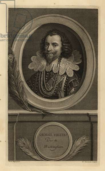 George Villiers, Duke of Buckingham. Duc de Buckingham. In lace collar, pearl necklaces and leather breastplate. Copperplate engraving by Charles Simonneau after Adriaen van der Werff from Isaac de Larrey's Histoire d'Angleterre, d'Ecosse et d'Irlande, Amsterdam, 1730.